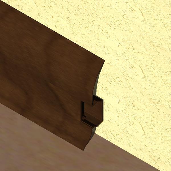PBC605-Plinta LINECO din PVC culoare stejar maroniu pentru parchet-60mm