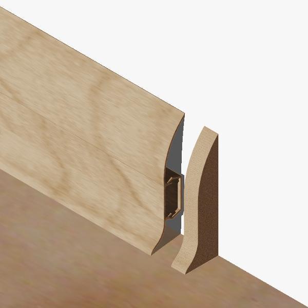 PBDS605.157 - Set 4 bucati piese inchidere plinta (2 buc. dreapta + 2 buc. stanga) culoare stejar inchis pentru plinta PBC605