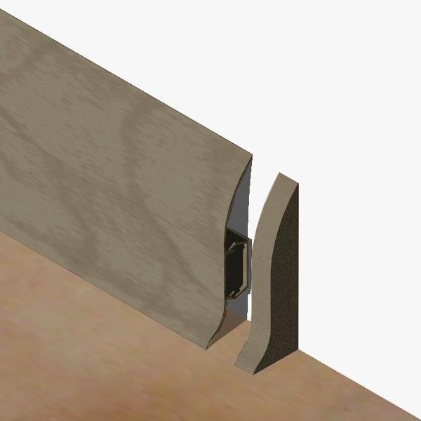 PBDS605.240 - Set 4 bucati piese inchidere plinta (2 buc. dreapta + 2 buc. stanga) culoare gri maroniu pentru plinta PBC605