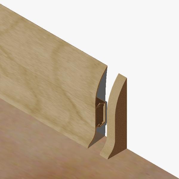 PBDS605.40 - Set 4 bucati piese inchidere plinta (2 buc. dreapta + 2 buc. stanga) culoare stejar pentru plinta PBC605